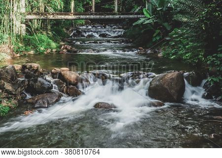 Watercourse In Natural With Water And Rocks.