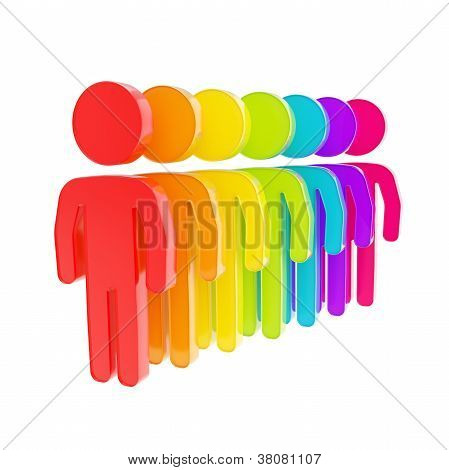 Rainbow Colored Human Figure Emblems Isolated