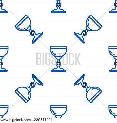 Line Jewish Goblet Icon Isolated Seamless Pattern On White Background. Jewish Wine Cup For Kiddush.