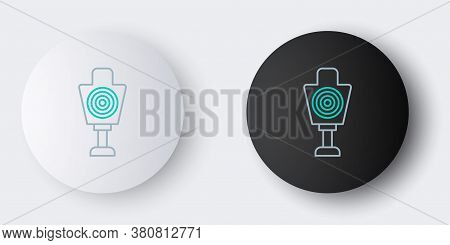 Line Human Target Sport For Shooting Icon Isolated On Grey Background. Clean Target With Numbers For