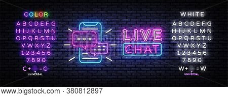 Live Chat Service Neon Sign Vector. Social Media Communication, Design Template Neon Sign, Light Ban