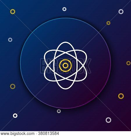 Line Atom Icon Isolated On Blue Background. Symbol Of Science, Education, Nuclear Physics, Scientifi