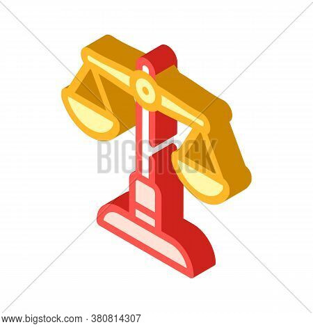 Judicial Scales Isometric Icon Vector Illustration Isolated