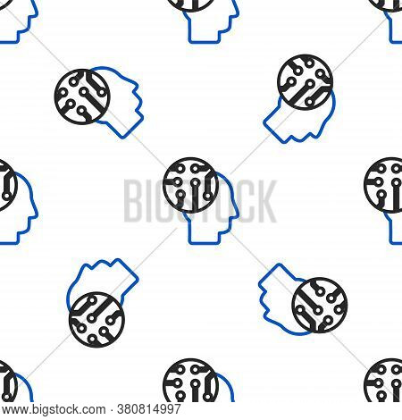 Line Human Brain As Digital Circuit Board Icon Isolated Seamless Pattern On White Background. Human