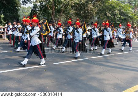 Kolkata, West Bengal, India - 26th January 2020 : Indian Army Officers Dressed As Musical Band, Carr