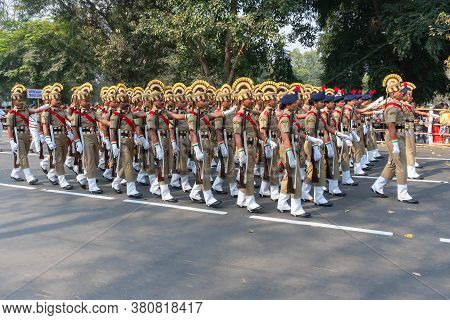 Kolkata, West Bengal, India - 26th January 2020 : March Past Of India's Central Social Welfare Board