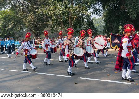 Kolkata, West Bengal, India - 26th January 2020 : March Past Of Indian Army Officers Of Eastern Comm