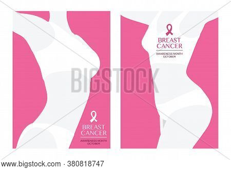 Vector Breast Cancer Awareness Water Color Design.  Pink Ribbon. October Is Cancer Awareness Month.