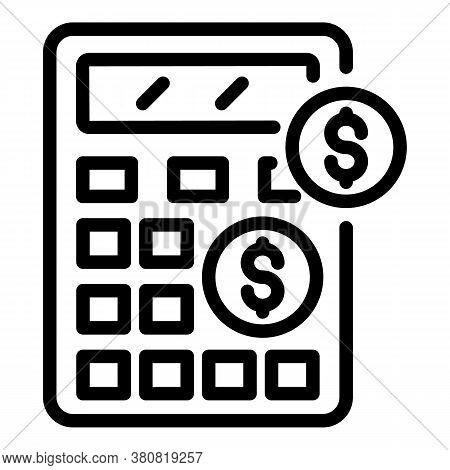 Allowance Money Calculator Icon. Outline Allowance Money Calculator Vector Icon For Web Design Isola