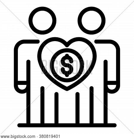 Couple Money Allowance Icon. Outline Couple Money Allowance Vector Icon For Web Design Isolated On W