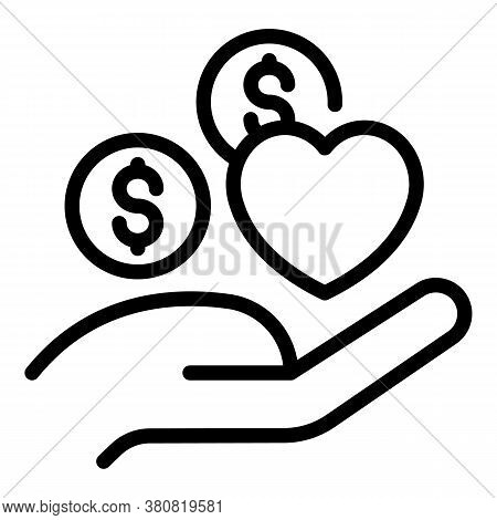 Hand Allowance Money Icon. Outline Hand Allowance Money Vector Icon For Web Design Isolated On White