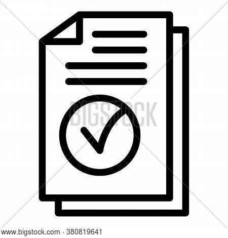 Approved Allowance Papers Icon. Outline Approved Allowance Papers Vector Icon For Web Design Isolate