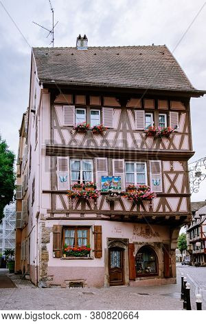 Colmar, Alsace, France June 2020. Petite Venice, Water Canal And Traditional Half Timbered Houses. C