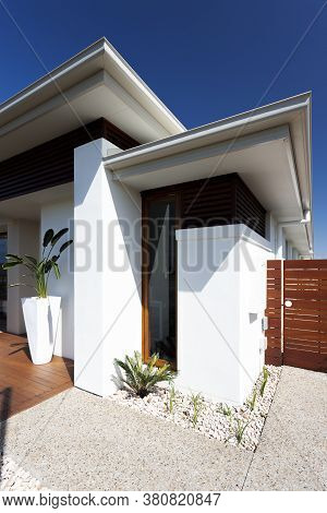 Front View Of Modern And Luxury House Exterior