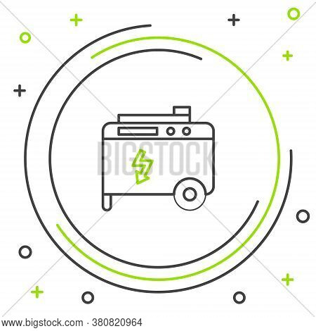 Line Portable Power Electric Generator Icon Isolated On White Background. Industrial And Home Immova