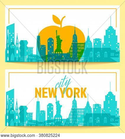 New York Landscape And Big Apple - Symbol Of The City Two Flyers In A Flat Style. Vector Nyc City Ca