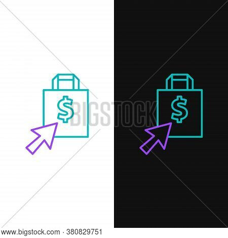 Line Shoping Bag And Dollar Icon Isolated On White And Black Background. Handbag Sign. Woman Bag Ico