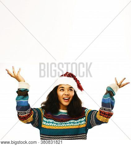 Cute Young Real African Real Hipster Girl In Santas Red Hat Isolated On White Background Waiting For
