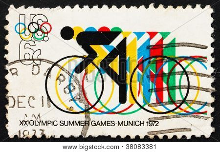 Postage Stamp Usa 1972 Bicycling And Olympic Rings