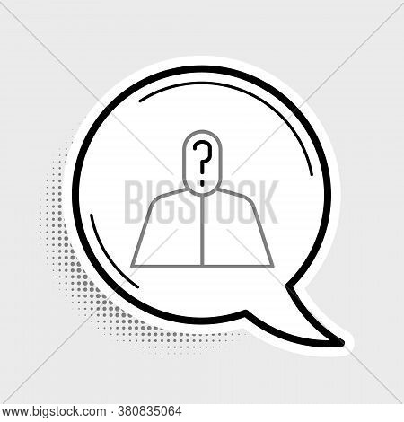 Line Anonymous Man With Question Mark Icon Isolated On Grey Background. Unknown User, Incognito Prof