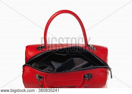 Fashionable Women's Handbag. Open Red Ladies Handbag Isolated On White