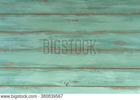 Wood Rustic Light Blue Or Green Background. Old Wooden Table, Top View. Vintage Natural Texture, Gru