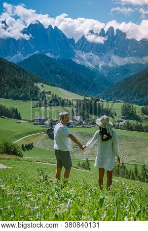Couple On Vacation Santa Magdalena Village In Dolomites Area Italy, Couple On Vacation Val Di Funes