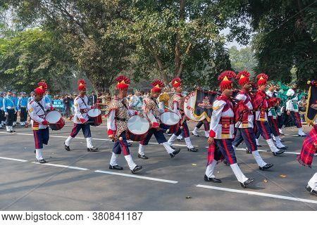 Kolkata, West Bengal, India - 26th January 2020 : Indian Army Officers Of Eastern Command Artillery,