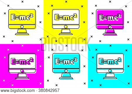 Set Math System Of Equation Solution On Computer Monitor Icon Isolated On Color Background. E Equals