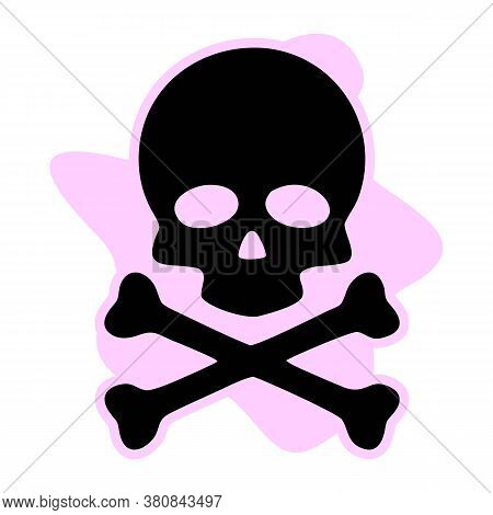 Skull And Crossbones Icon On White Background. Flat Style. Skull Design Icon For Your Web Site Desig