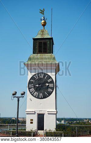 Novi Sad / Serbia - August 16, 2017: Clock Tower At The Petrovaradin Fortress In Novi Sad, Vojvodina