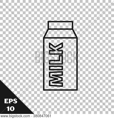 Black Line Paper Package For Milk Icon Isolated On Transparent Background. Milk Packet Sign. Vector
