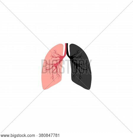 Smoking Icon Is Harmful To The Lungs. Vector Illustration Eps 10
