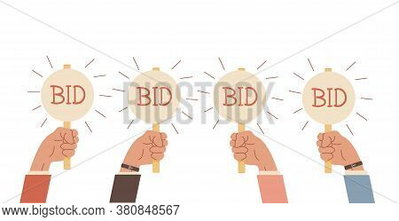 Auction Bidding. Hands Holding Bids Paddle. Sale And Buyers. Business Competitors Buying. Financial