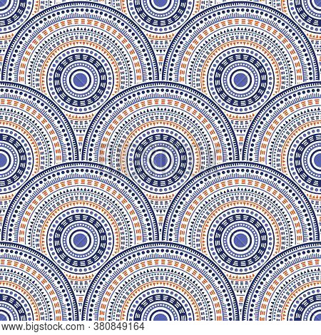 Chinese Circle Elements Background Vector Seamless Pattern. Oriental Motifs Geo Repeating Scallops.