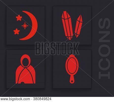 Set Magic Hand Mirror, Moon And Stars, Magic Stone And Mantle, Cloak, Cape Icon. Vector