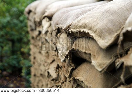 Sand Bags Protecting The Entrance To A Recreated Ww1 Trench