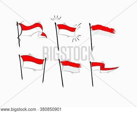 Set Indonesian Flag On White Background In Vector Illustration