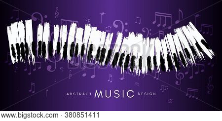 Piano Concert Poster. Music Conceptual Illustration. Abstract Style Violet Background With Hand Draw