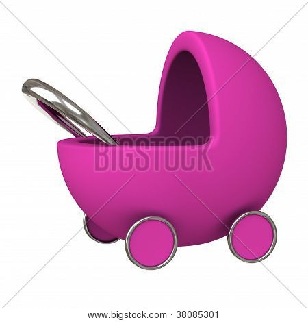Pink baby carriage 3d