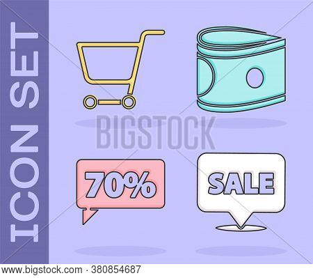Set Hanging Sign With Sale, Shopping Cart, Seventy Discount Percent Tag And Stacks Paper Money Cash