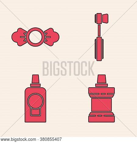 Set Mouthwash Plastic Bottle, Candy, Toothbrush And Mouthwash Plastic Bottle Icon. Vector