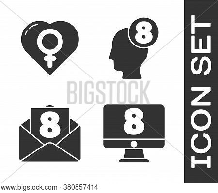 Set 8 March On Monitore, Female Gender In Heart, Envelope With 8 March And 8 March In Human Head Ico