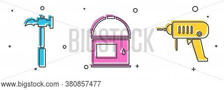 Set Claw Hammer, Paint Bucket And Electric Drill Machine Icon. Vector