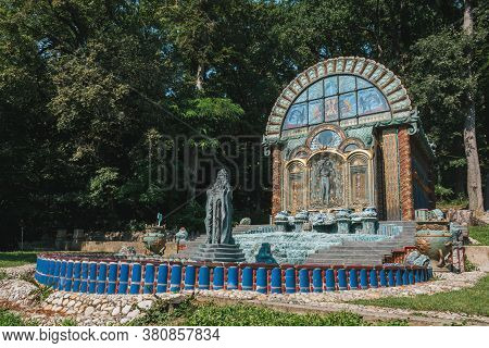 Vienna, Austria - August 8 2020: Fountain House Nymphaeum Omega In The Park Of The Ernst Fuchs Museu