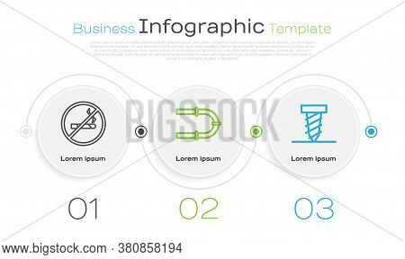 Set Line No Smoking, Industry Pipe And Rotating Drill Digging A Hole. Business Infographic Template.