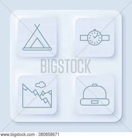 Set Line Tourist Tent, Wrist Watch, Mountains And Beanie Hat. White Square Button. Vector