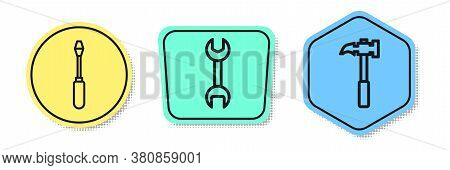 Set Line Screwdriver, Wrench Spanner And Claw Hammer. Colored Shapes. Vector