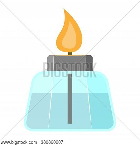 Alcohol Burner. New Full Glass Laboratory Glassware With A Combustible Mixture, To Accelerate Chemic