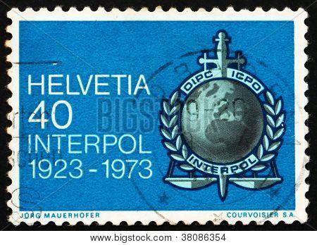 Postage Stamp Switzerland 1973 Interpol Emblem